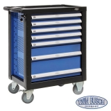 Filled tool trolley with 7 drawers